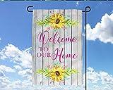 Dozili Welcome Home Sonnenblumen-Fahne, personalisierbar, Gartenflagge, Hochzeitsgeschenk, Sommer, Garten, Kunst, Namensschild, Polyester, bunt, 28