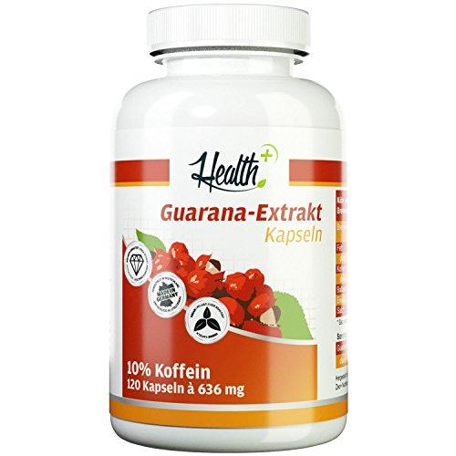 HEALTH+ Guarana-Extrakt - 120 Kapseln, hochwertiger Extrakt mit 10% Koffein - ohne Zusätze, Guarana Kapseln für den natürlichen und langanhaltenden Energie-Kick - hohe Verträglichkeit, Made in Germany