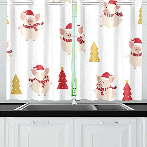 in-Rot-Winter-Kostüm Weihnachtsküchenvorhänge Fenster Vorhangebenen für Café, Bad, Wäscherei, Wohnzimmer Schlafzimmer 26 X 39 Zoll 2 Stücke ()
