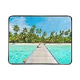 KAOROU Hermosa Isla Tropical de Maldivas Mar Playa Portátil y Plegable Estera de Manta 60x78 Pulgadas Práctica Estera para Acampar Picnic Playa Viajes al Aire Libre en el Interior