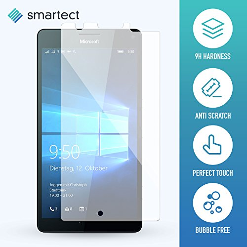 smartect® Microsoft Lumia 950 XL Premium Panzerglas Display-Schutzfolie aus gehärtetem Tempered Glass | Gorilla-Glas mit Härtegrad 9H | Panzerfolie - Top-Schutzglas gegen Kratzer (gerundete Kanten)