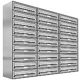 27 er Briefkastenanlage Edelstahl, Premium Briefkasten DIN A4, 27 Fach Postkasten modern Aufputz