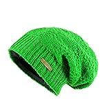 McRon Wollmütze Lina grasgrün für Damen Mütze Beanie Slouch Strickmütze Wintermütze warm gefüttert
