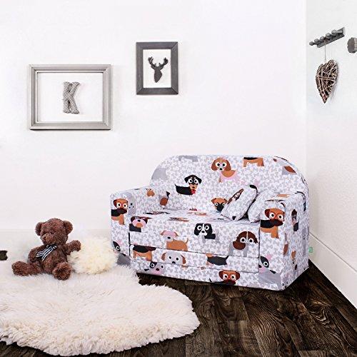 LULANDO Classic Kindersofa Kindercouch Kindersessel Sofa Bettfunktion Kindermöbel zum Schlafen und Spielen Sternchen