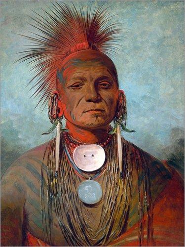Posterlounge Forex 60 x 80 cm: See-Non-TY-a, an Iowa Medicine Man, 1844-45 de George CATLIN/Bridgeman Images