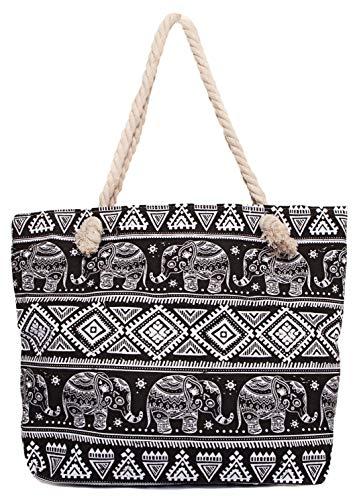CAPRIUM Strandtasche mit Ethno und Elefanten Muster und Reißverschluss Schultertasche Shopper Damen 287613 (Schwarz)