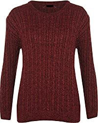 Threadwear Ladies Women Knitted Crew Neck Long Sleeve Cable Knit Jumper Chunky Sweater Top. UK 8-18