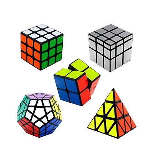Rompecabezas de cubo mágico, Cubo de velocidad: 2x2 Cubo mágico + 3X3 Cubo mágico + Cubo de Megaminx + Cubo de espejo de plata + 3x3 Pyraminx Cube negro