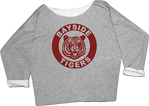 Saved by the Bell Kelly Kapowski Bayside Tigers Off the Shoulder grau Junior Sweatshirt (Junior X-Large)