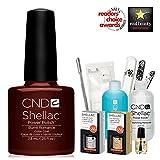 CND Shellac Gel Polish Starter Kit–CND Shellac Burnt Romance Farbe Farbe Starter-Set–Top & Base Coat + Essentials (UK Verkäufer)