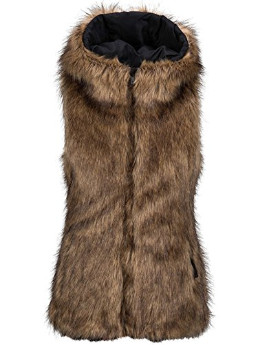 Volcom Rhea Faux Fur Vest Brown Brown