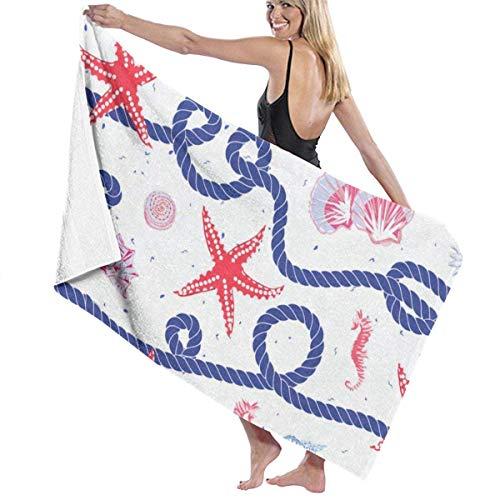 xcvgcxcvasda Serviette de bain, Seamless Nautical Rope Starfish Personalized Custom Women Men Quick Dry Lightweight Beach & Bath Blanket Great for Beach Trips, Pool, Swimming and Camping 31