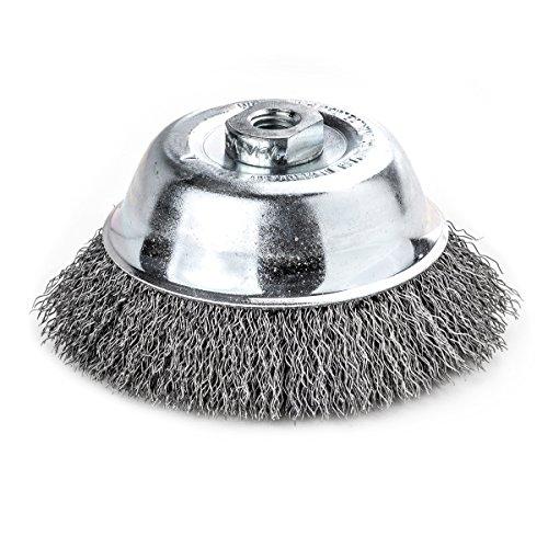 Lessmann 421.167 Topfbürste/Drahbürste | Bürste zum Entrosten, Polieren, Entfernen von Farbe, Schmutz oder Zunder | Werkstoff : gewellter Draht, Umdrehungen pro Minute : 12.000