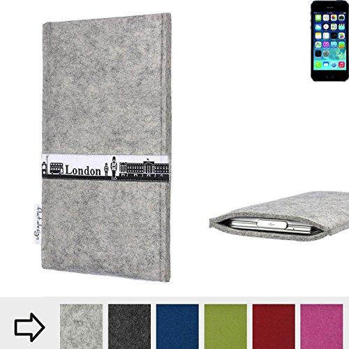 flat.design Filzhülle SKYLINE mit Webband London für Apple iPhone 5s - individuelle Handytasche aus 100% Wollfilz (anthrazit) - Case im Slim fit Design für Apple iPhone 5s hellgrau