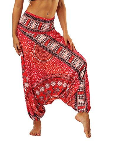 SEEU Harem - Pantalón para Mujer, diseño Bohemio, Hippie Rojo Red Mandalas Talla única