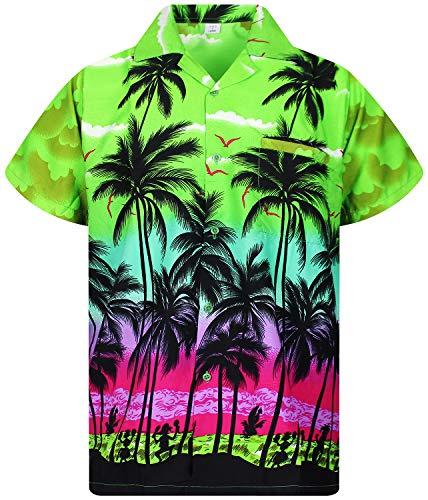 V.H.O. Funky Hawaiihemd, Kurzarm, Beach, grün, 4XL