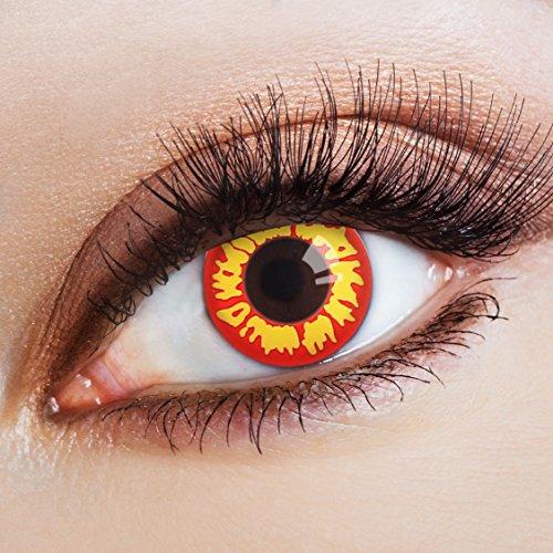 aricona Kontaktlinsen Farblinsen rote Kontaktlinsen farbig bunte Jahreslinsen gelb Ork Kostüm