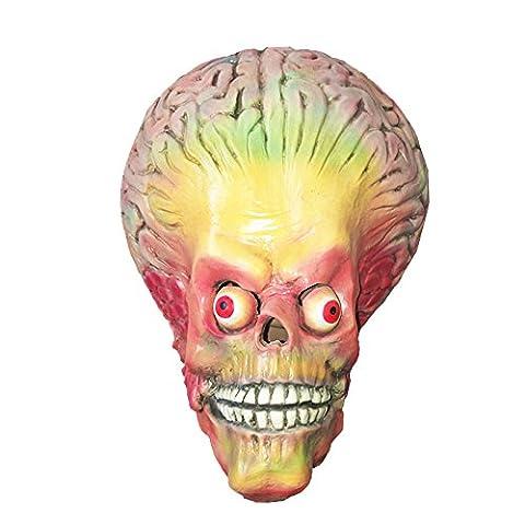 Cerveau de cerveau étranger Masque de masque Alien Tête en matériel de latex de très haute qualité avec ouvertures pour les yeux Carnaval de Halloween Carénage de costumes pour adultes Hommes et femmes Femmes Hommes Creepy Creep Zombie Monster Demon Horror Party Party