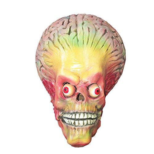 ußerirdischer Maske mask Kopf aus sehr hochwertigen Latex Material mit Öffnungen an Augen Halloween Karneval Fasching Kostüm Verkleidung für Erwachsene Männer und Frauen Damen Herren gruselig Grusel Zombie Monster Dämon Horror Party Party (Außerirdischer Halloween)