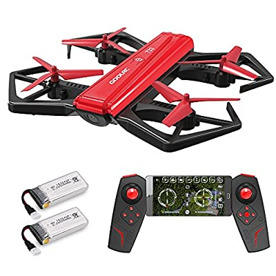 GoolRC T33 WIFI FPV 720P HD Beauty Camera Foldable Drone with Live Video G-sensor RC Selfie Quadcopter Altitude Hold Two Batteries