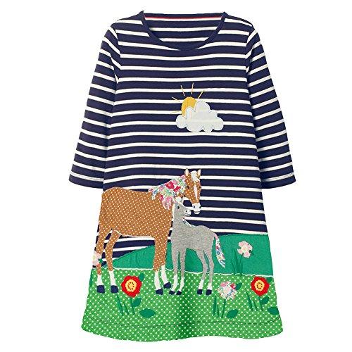 (Mädchen Baumwolle Freizeit Langarm Streifen T-shirt Kleid Himmel blau Pferde/2T)