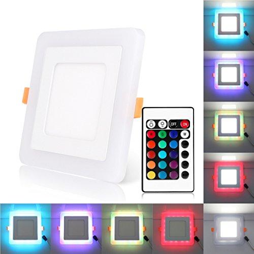 Bloomwin LED Lampada da Incasso a Soffitto Faretto Downlight LED con 3 Modalità Plafoniera Illuminazione 9w Quadrato RGB+Bianco