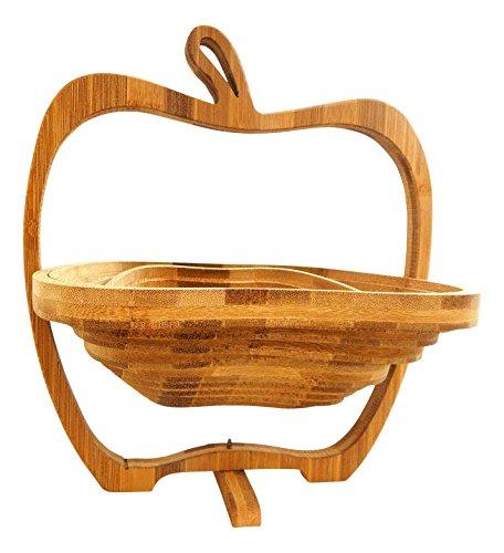 Tinas collection cestino portafrutta in legno di bambu, a forma di mela, h x b x t: 30 x 27 x 22 cm, marrone