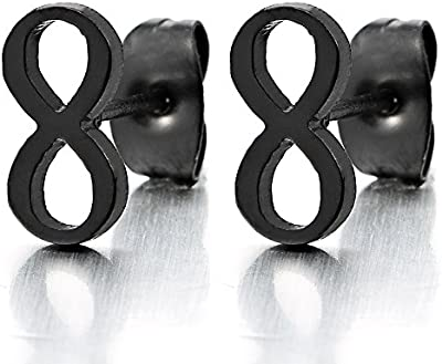 Negro Amor Infinito Número 8 Pendientes de Hombres de Mujer, Acero Inoxidable, 2 Piezas