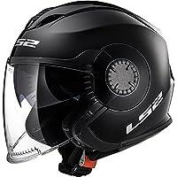 LS2 OF570 Doble Visera Cascos Abiertos Casco de Moto de Cara Abierta - Negro XXS(