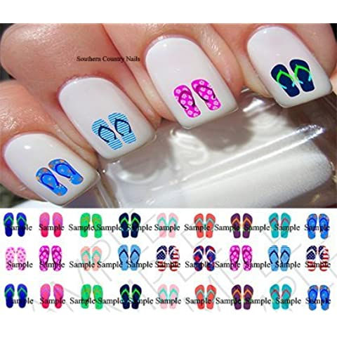 54 Flip Flops Nail Decals by Southern Treasure Bowlicious Bow-Tique