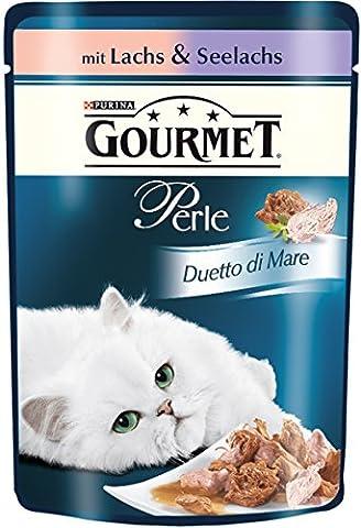Gourmet Perle Katzenfutter Duetto di Mare mit Lachs & Seelachs, 24er Pack (24 x 85 g) Beutel