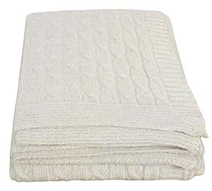 Couvre-lit Blanc laine Twist CIMC 027–00 TW-WH