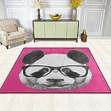 Bereich Teppich, Panda Kopf mit Brille pink print Teppich Designer Super Soft Polyester Große rutschfeste Modern Bad-Teppiche für Schlafzimmer Wohnzimmer Hall Abendessen Tisch Home Decor 121,9x 160cm, Textil, multi, 48 x 63 inch