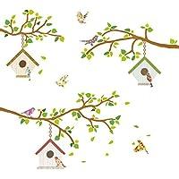 Decowall DW-1304 4 Ramas y Casas para Pájaros Vinilo Pegatinas Decorativas Adhesiva Pared Dormitorio Salón Guardería Habitación Infantiles Niños Bebés