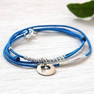 Bracelet personnalisable cordon jonc perles et médaille argent 925