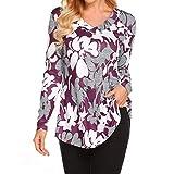 Damen Komfortable Mode Langarm-T-Shirt mit Blumenmuster und Knopfdruck Top Multicolor