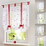 lianle Römischer Vorhang Raffrollo Sheer liftable Organza bestickt Küche Vorhänge Fenster Vorhang, rot, 120*140cm/47.2