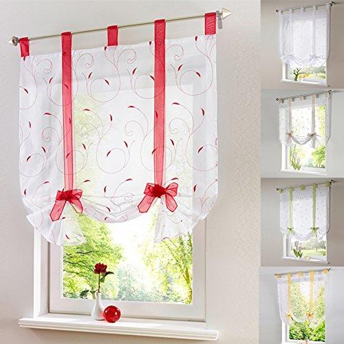 LianLe Römischer Vorhang Raffrollo Sheer liftable Organza Bestickt Küche Vorhänge Fenster Vorhang, rot, 120 * 140cm/47.2