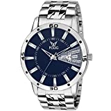 #9: Fogg Stainless Steel Day and Date Blue Dial Analog Mens Watch (2038-BL)