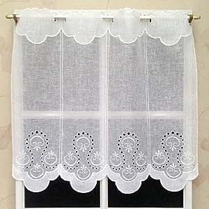 Rideau Brise bise Etamine Blanc brodé env. 58 cm Réf. 14703.58BLVeuillez noter une chose IMPORTANTE ! 1 unité = 15 cm de largeur. Si vous n'achetez qu'un seul article, vous recevrez un rideau minuscule d'une largeur de seulement 15 cm..