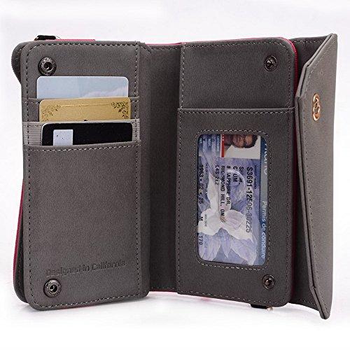 Kroo Lien Series Étui portefeuille pour femme Dragonne Sac à bandoulière Compatible avec Archos 45Titanium Téléphone universel