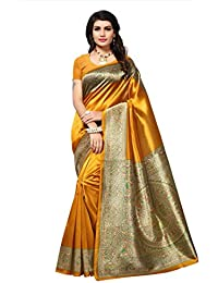 Indian Fashionista Women's Kalamkari Mysore Silk Saree with Blouse Piece (Printed Saree)