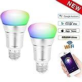 WiFi Lampen Led E27 B22 7W RGB, Belpink Alexa Glühbirne Smart Steuerbar via App, kompatibel mit Amazon Alexa google assistante, Farbe und Einstellbare Helligkeit, 16 Millionen Farben Silber (2 pack)