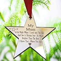 Xmas Tree Decoration Star Shape in Mirrored Acrylic - Christmas Bauble Engraved Gift Bauble - Christmas Remembrance ornament - L1126