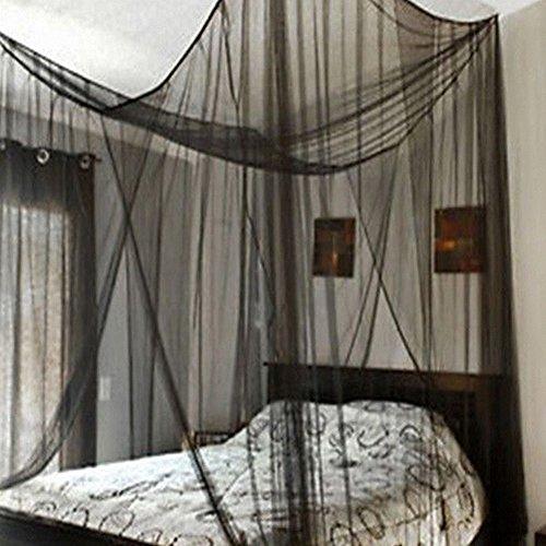 Vier ecke moskitonetz betthimmel,Moskitonetz, volle verrechnung schwarz bett großbild netting bett baldachin perfekt für drinnen und draußen,Spielplätze,Passt den meisten betten-schwarz King - Schwarz Netting-bett