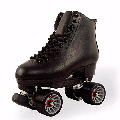ZZY Roller Skates Quad Indoor/Outdoor High Top Leder Rollschuhe für Jugendliche und Erwachsene Erwachsene, black, 39 -
