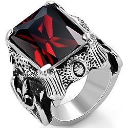 JewelryWe Bijoux Bague Homme Griffe du Dragon Fleur de Lis Oxyde de Zirconium Mariage Acier Inoxydable Anneaux Fantaisie Avec Sac Cadeau(Taille de Bague 64.5)