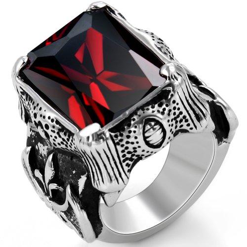 ker Edelstahl Herren-Ring, Damen-Ring, Drachenkralle mit Zirkonia, Farbe Silber Schwarz Rot Größe 52 bis 67 ()