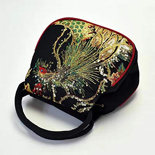 MiaoShengsen Chinese art peacock embroidery small round bag (Black peacock embroidery bag)