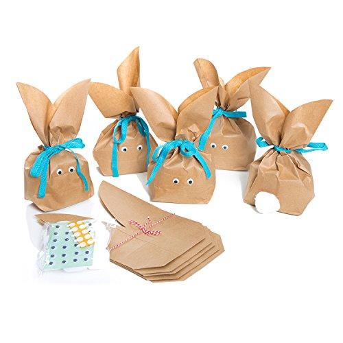 ürlich lustige Osterhasen Hasen Papiertüten + blau türkis Baumwollband - Alternative zum Osternest f. Kinder + Erwachsene give-away Mitgebsel Verpackung Geschenke zu Ostern ()
